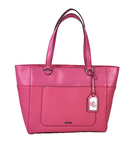 Lauren by Ralph Lauren Fulton Leather Shopper Tote, Azalea - Ralph Tote Lauren Pink