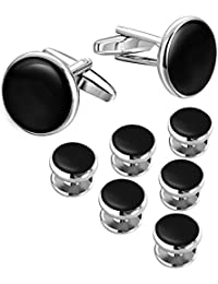 LIEBLICH Mens Black Round Tuxedo Shirts Cufflinks and Button Studs Set Ideal Jewelry Gift for Men …