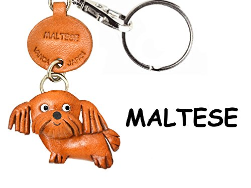 Leather Dog Key Ring - Maltese Leather Dog Small Keychain VANCA CRAFT-Collectible Keyring Charm Pendant Made in Japan
