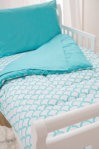 American Baby Company 100% Cotton Percale 4-Piece Toddler Bedding Set, Aqua Sea Wave, for Boys and Girls 4