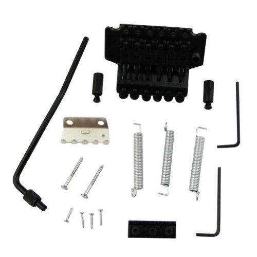 Musiclily Double Tremolo Guitar Bridge Assembly Set For Electric Guitar Parts, Black - Kahler Tremolo