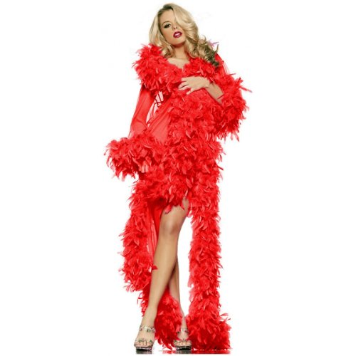 Sheer Feather - Glamour Robe Adult Lingerie Red - One Size