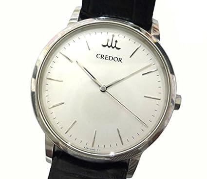 577bbc6204 Amazon | セイコー クレドール メンズ腕時計 シグノ SS×レザー クオーツ ホワイト文字盤 [中古] | 国内メーカー | 腕時計 通販