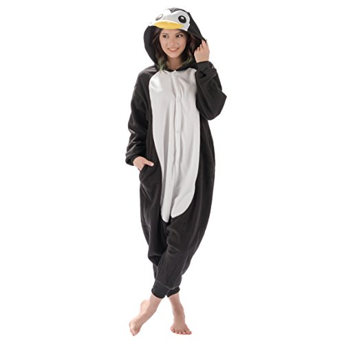 Emolly Fashion Adult Penguin Animal Onesie Costume Pajamas for Adults and Teens (Small, Penguin) Black/White