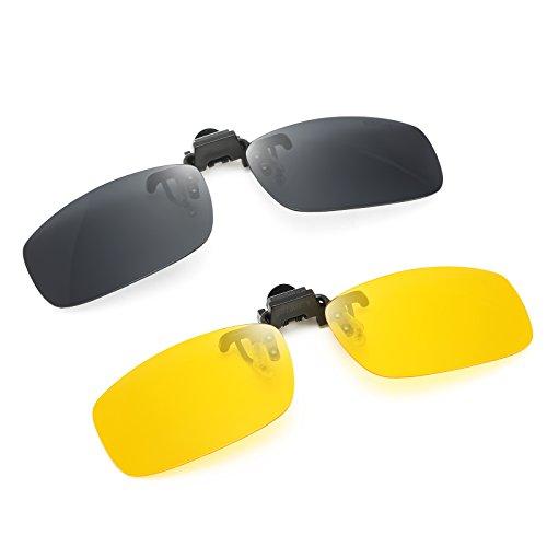 JESSIEDANTON Polarized Clip-on Flip Up Metal Clip Rimless Sunglasses, Lightweight, M Size, Set of 2 PCS (Black + Yellow) (Gray Frame Av)