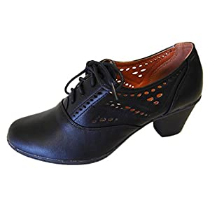 Refresh Women's London-01 Cutout Dressy Heeled Lace Up Oxford Shoe
