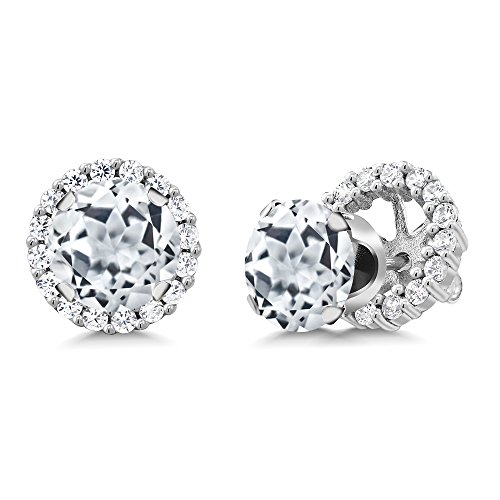Gem Stone King 3.64 Ct Round White Topaz 925 Sterling Silver Stud Earrings with Removable - Disc Charm London