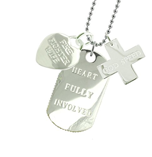Solid Sterling Silver Firefighter Wife Dog Tag GS by New York 925 & Co.