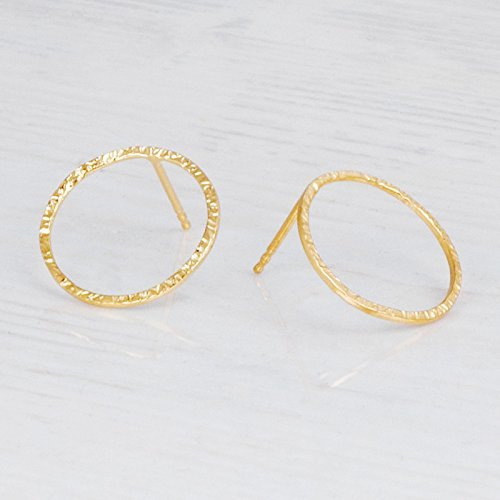 Delicate Hammered Gold Circle Earrings – Designer Handmade Minimal Small Open Circle Stud Posts