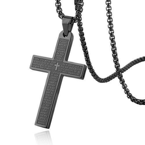 HZMAN Stainless Steel Mens Womens Cross Necklace Lord's Prayer Pendant, 3 Colors Available (Black) ()
