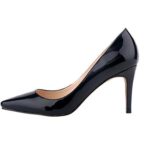 Loslandifen Womens Shoes Closed Toe High Heels Womens Pointed Slender Leather Pumps Black,8cm Heels
