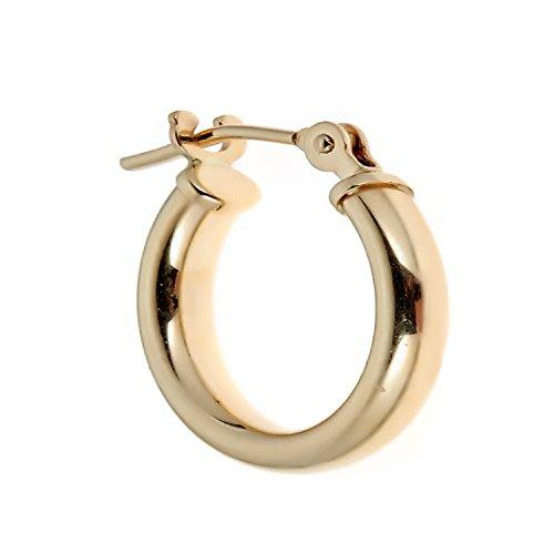 Ritastephens Men's Unisex 14k Real Yellow Gold Single Tubular Hoop Earring Huggie ()