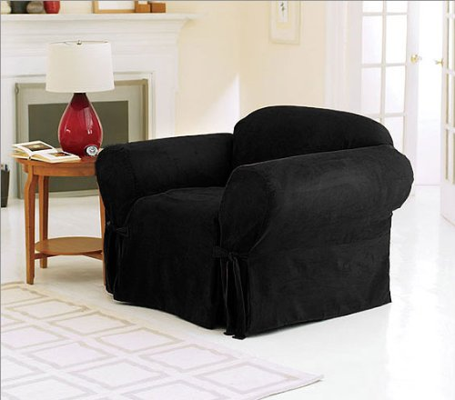 Chezmoi Collection Soft Micro Suede Solid Black Armchair/Arm-chair Cover Slipcover with Elastic Band Under Seat Cushion