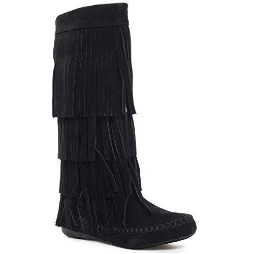 V-Luxury Womens 28-MUDD55 Closed Toe Mid Calf Knee High Mocassin Flat Boot, Black Faux Suede, 6.5 B (M) US