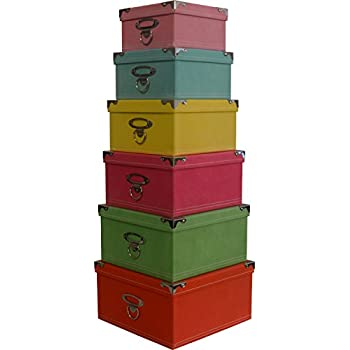 Decorative Storage Boxes In Pastel Colors, Nested, Metal Reinforced  Corners, Set Of 6