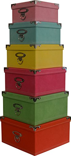 Decorative Storage boxes in pastel colors, nested, metal reinforced corners, set of 6 assorted sizes