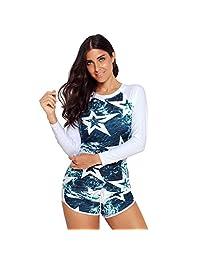 Thenxin Women Long Sleeve Print Swimsuits Rash Guard Tankini Crop Sun Protection Top Swim Shirt