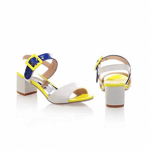 Carol Shoes Womens Summer Use Fashion Assorted Colors Chic Buckle Mid Chunky Heel Sandals White w3kcD
