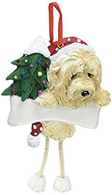 E&S Pets Goldendoodle Ornament with Unique Dangling Legs Hand Painted and Easily Personalized Christmas Ornament