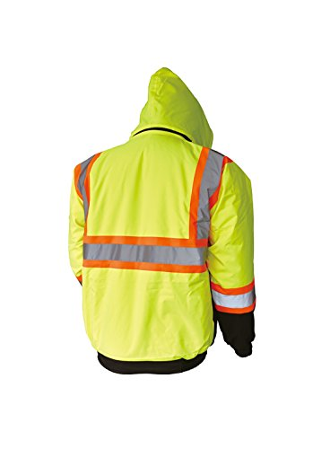 LM High Visibility Class III Reflective Waterproof Bomber Jacket W/Removable Hood (S, HJL) by L&M (Image #1)