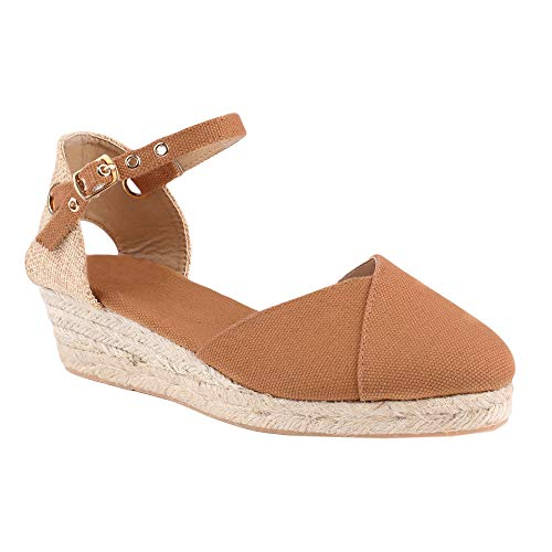 Huiyuzhi Womens Wedge Sandals Ankle Strap Cap Toe Espadrille Wedge Sandal