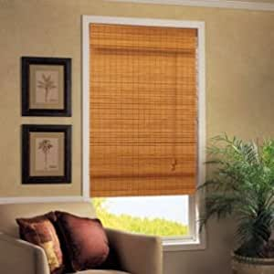 caramel simple weave flatstick bamboo roman shade 31 in w x 72 in l home kitchen. Black Bedroom Furniture Sets. Home Design Ideas