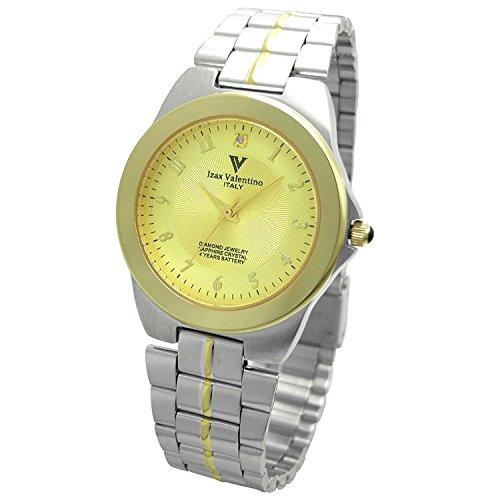 Izax Valentino watch round type 1P natural diamond metal watch Arabic numerals index Gold IVG-650-7 Men's