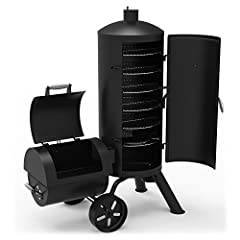 Get the best of both worlds with the Signature Series Heavy-Duty Vertical Offset Charcoal Smoker & Grill from Dyna-Glo. This multifunctional smoker lets you have it all with both grilling and offset smoking capacity. Smoke your pork shoul...