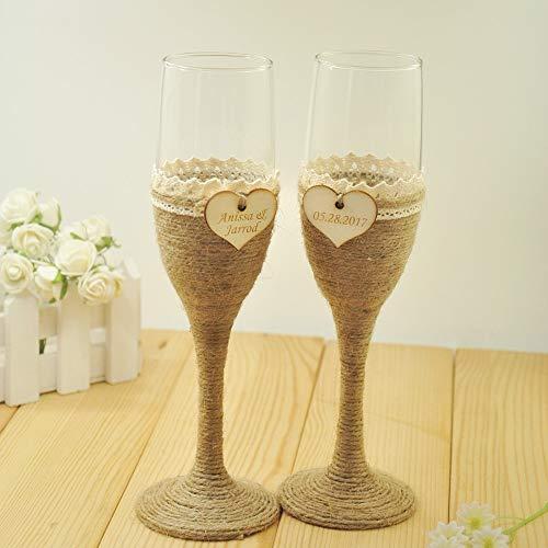 (1 Set Personalized Wedding Glasses, Wedding Champagne Toasting Flutes, Customized Names&Date, Burlap Lace Rustic Flutes)