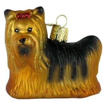 Amazon Com Old World Christmas Ornaments Yorkie Glass Blown