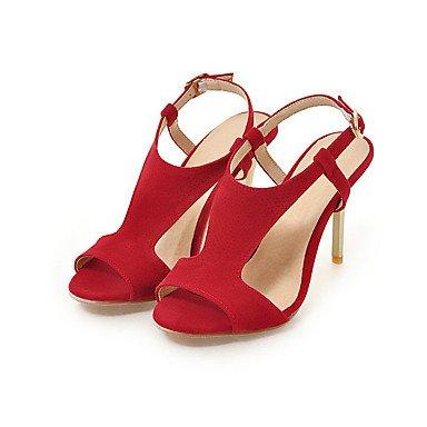 LvYuan Mujer Sandalias Semicuero Primavera Verano Otoño Hebilla Tacón Stiletto Negro Rojo Rosa 7'5 - 9'5 cms ruby