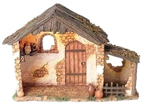 5 Inch Lighted FONTANINI Nativity Stable Only 50567 (Stable Small Nativity)