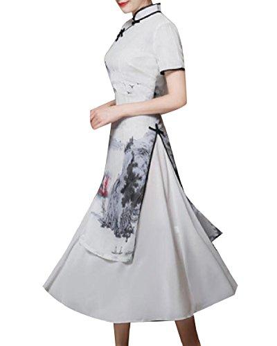 Cheongsam Peacock Layers Silk Women Coolred Double Style Dress Grey Chinese XvwYA0Iq
