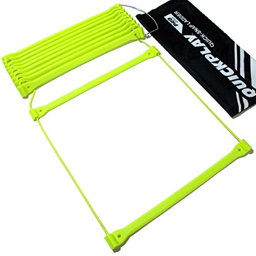 QuickPlay PRO No Tangle Agility Ladder with Quick Lock Adjustable Flat Rungs + Carry Bag (11-Rung) Multi-Sport Speed Ladder/Training Ladder by QuickPlay