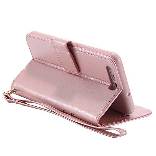 Ecoway Para Huawei P10 Lite Funda, (azul)Noctilucent Cuero de la PU Leather Cubierta - Series de tiempo de ocio niña , Función de Soporte Billetera con Tapa para Tarjetas Soporte para Teléfono Oro rosa