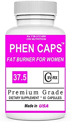 PHEN CAPS 37.5 ® For Women - Premium Appettite Suppressant for Weight Loss for Women - Thermogenic Fat Burner Supplement - Energy Pills - Carbohydrate Blocker - Metabolism Booster - Keto Diet Friendly