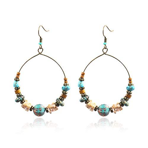(Wood Beaded Hoop Dangle Earrings Hook Bohemian Colorful Turquoise Shell Wooden Balls Hollow Circle Earrings Drop for Women Girls Mother)