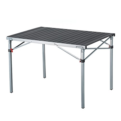 (KingCamp Steel Frame Fold Camp Table Heavy Duty XL Aluminum Alloy Roll up top Portable Stable Collapsible Supports 176lbs)