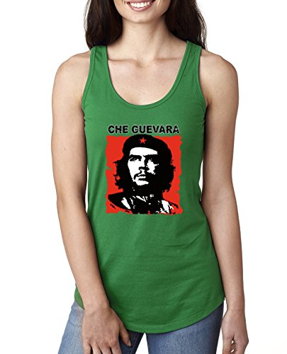 Classic Red Che Guevara | Womens Political Jersey Racerback Tank Top, Kelly, X-Large
