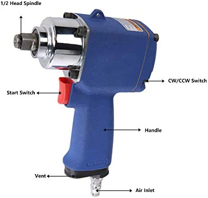 9000rpm Pneumatic Air Impact Wrench Air Socket Wrench Impact Wrench Powerful for