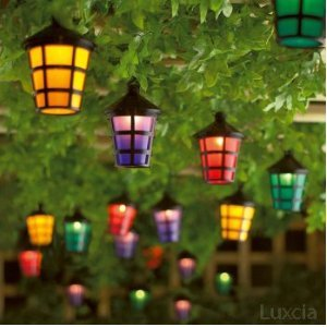 String Garden Lights Indoor Outdoor : Set of 40 Mains Operated String Coloured Garden Indoor Outdoor Lantern Lights: Amazon.co.uk ...