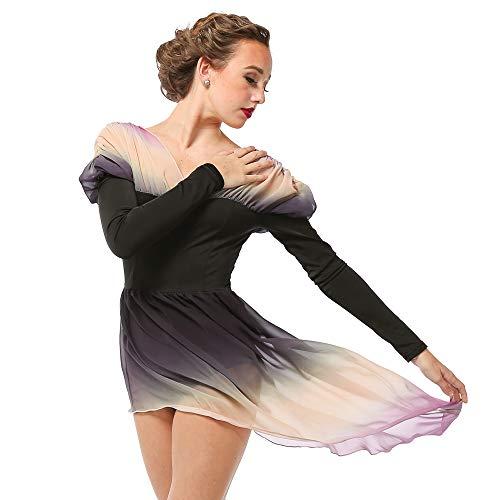 Alexandra Collection Womens Belle Long Sleeve Skirted Lyrical Dress Dance Costume Black X-Large