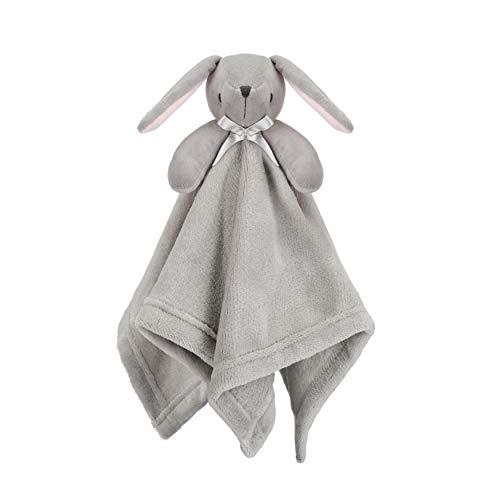Pro Goleem Bunny Baby Lovey Stuffed Plush Lovie/Security Blanket for Boys and Girls Minky Dot Fabric Best Easter Gift for Newborn/Infant (Gray, 15