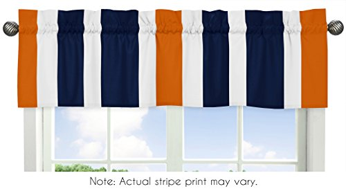 Sweet Jojo Designs Navy Blue, Orange and White Window Treatm