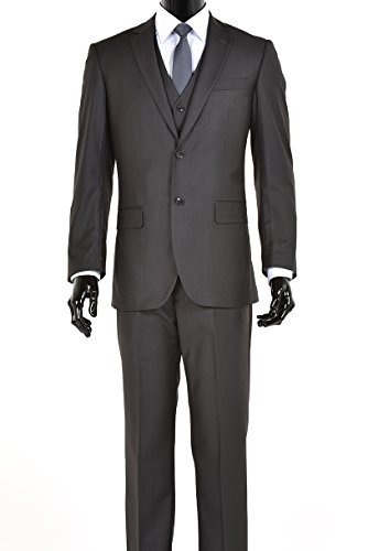 King Formal Wear Elegant Mens Charcoal Gray Two Button Three Piece Suit (44 LONG)