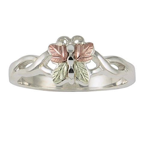 - Butterfly Ring, Sterling Silver, 12k Green and Rose Gold Black Hills Gold Motif, Size 10