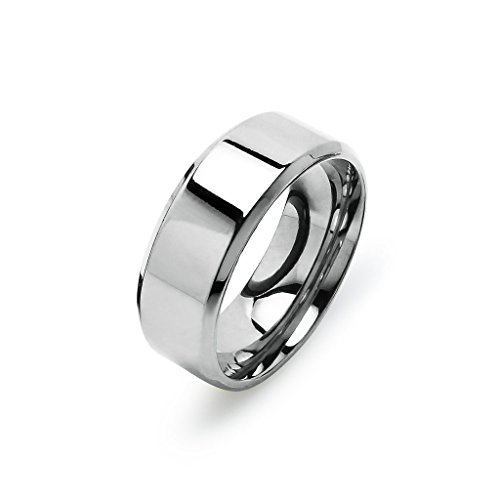 7mm Plain Band Ring (Silver Tone High Polish 8mm Plain Comfort Fit Wedding Band Ring Stainless Steel, Size 7)