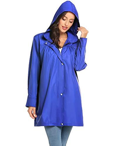 LOMON Summer Raincoats Women Waterproof Outdoor Hooded Lapel Collar Rain Jacket Windbreaker Blue M