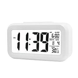 Smart Luminous Digital Alarm Clock, Big Digits Home Bedside Desktop Clock for Bedroom (White)