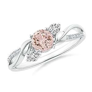 Angara Morganite and Diamond Twisted Vine Ring zv8SVo7Rxz